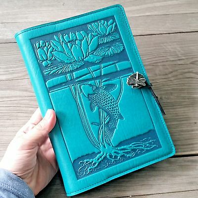 """Water Lily Koi handcrafted Leather Journal teal-blue Large 6""""x9"""" Oberon Design"""