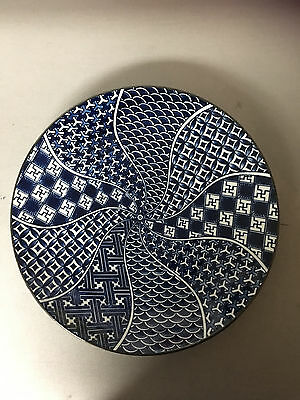 Asian Porcelain Bowl/Plate - Blue and White Geometric Designs - Swirled Pattern
