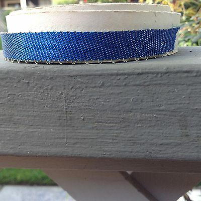 Vintage/Antique Blue Silver Metallic Ribbon one yard French  3/8""