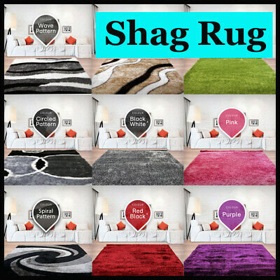 New Grey Designer Shag Shaggy Floor Confetti Rug Carpet 300x200cm Lounge Room
