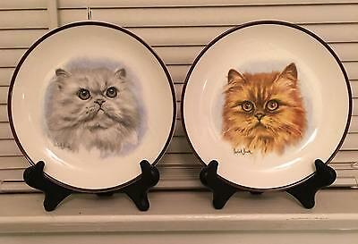 Set of 2 Bone China Persian Cat Plates by Derick Bown~Plate Stands Included