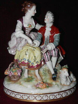 "Volkstedt Dresden 8"" Tall Figurine Couple With Sheep And Basket Of Flowers Bin!"