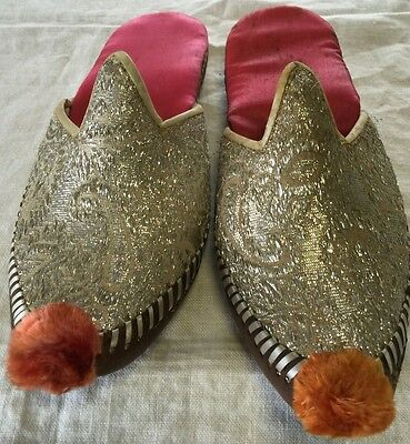 Vintage Leather Metallic Middle East Arabian Pointed Toe Shoes Costume India