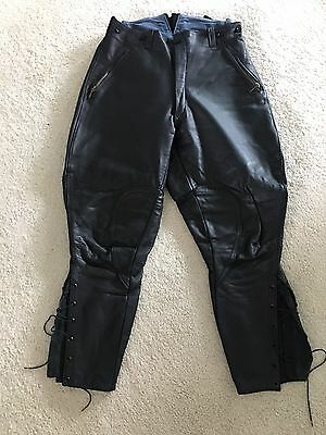 GERMAN LEATHER BREECHES BLACK MOTORCYCLE Sz 50 EU/ 34US  VINTAGE  BLUF RECON IML