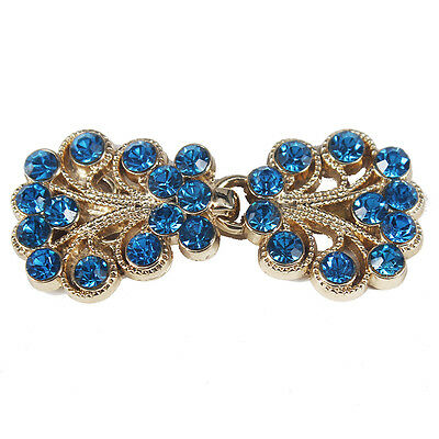 5set Crafts Closure Clasps Button Blue Crystal Gold Tone Metal Hook Eyes Clasp