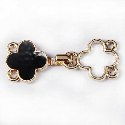 5set Black Flower Closure Waist Extender Hooks&Eyes Connectors Clasps Button