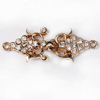 5set Closure Connectors Crystal Rhinestones Button Gold Metal Waist Extender