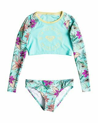 NEW ROXY™  Girls 8-14 Hawaiian Paradise Long Sleeve Crop Rash Vest Set Teens Sur
