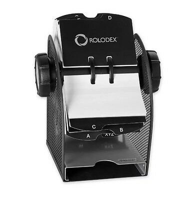Rolodex Two-Tone Mesh Rotary Business Card File Black Silver #1734234