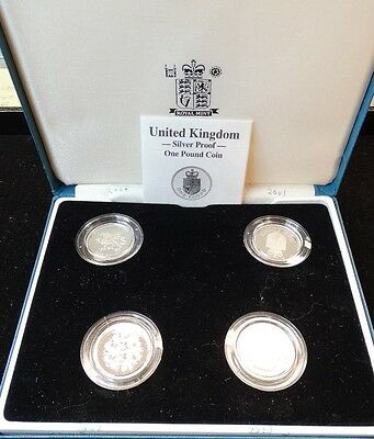 UNITED KINGDOM SILVER PROOF 1 POUND COIN 4pc SET