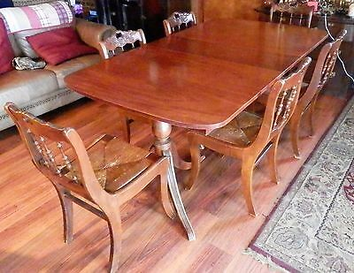 Duncan Phyfe Sheraton Mahogany Dining Room Table & 6 Chairs Mid Century Pedestal
