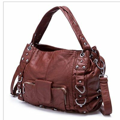 Fashion Women Washed Leather Handbag Shoulder Bag Tote Purse Messenger Brown Bag