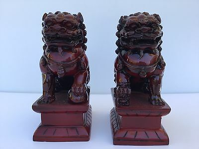 Pair Vintage Red Chinese Foo Dog Statues Asian China