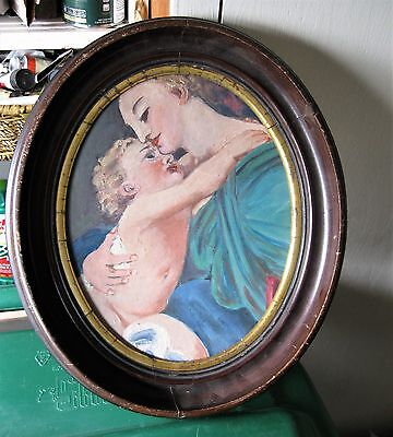Antique Folk Art Oil Painting Of The Madona And Child Oval Woodframe