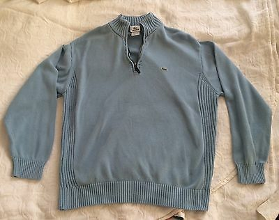 Lacoste Quarter Zip Long Sleeve Pullover Blue Green Sweater Size 7 Men's XL