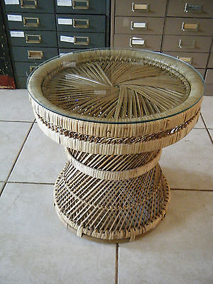 Small Vintage Bohemian Natural Wicker Side Table With Glass Top