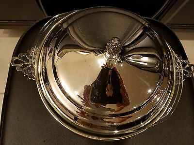 """Sheffield Silver Co. USA Serving Bowl Lid Glass Pyrex Insert Silverplated 9""""D6""""H"""