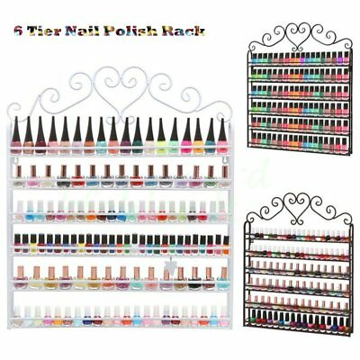6 Tier Wall Mounted Nail Polish Rack Organizer Display Holder Comestic Shelf SM