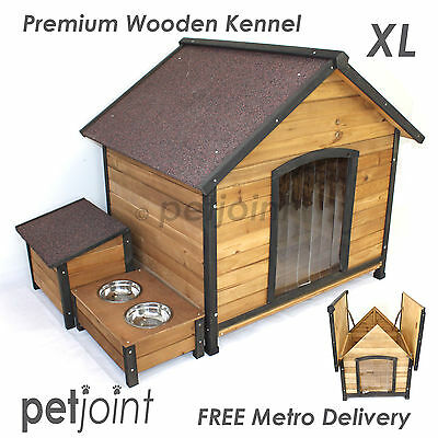 XL Wooden Pet Big Dog Kennel House Extra Large Timber Log Outdoor Home Labrador