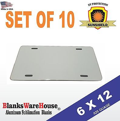 "10 Pieces ALUMINUM LICENSE PLATE SUBLIMATION BLANKS 6""x12"" / NEW BEST QUALITY"