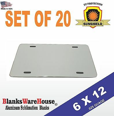 """20 Pieces ALUMINUM LICENSE PLATE SUBLIMATION BLANKS 6""""x12"""" / NEW BEST QUALITY"""