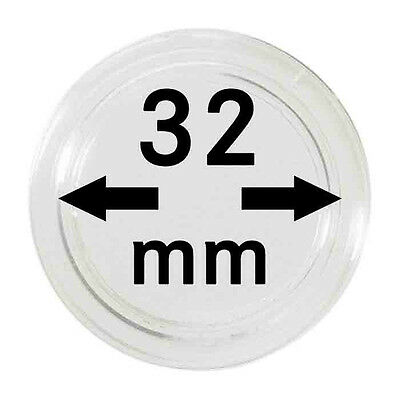 10 NEW 32mm Plastic Coin Capsules Storage Air Tite for 1966 round 50c.