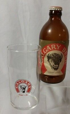 Calgary Export Lager Stubby Beer Bottle With Cap Vintage Stubbie