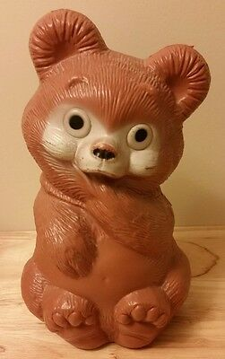 Teddy Bear Savings Bank Blow Mold Plastic Canadian Reliable Brand Vintage 1960