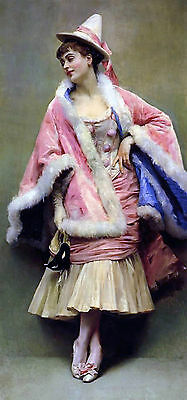 Oil painting female portrait young woman wearing pink dress free shipping canvas