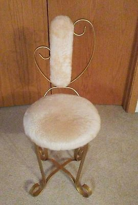 Vintage Metal Vanity Chair Hollywood Regency