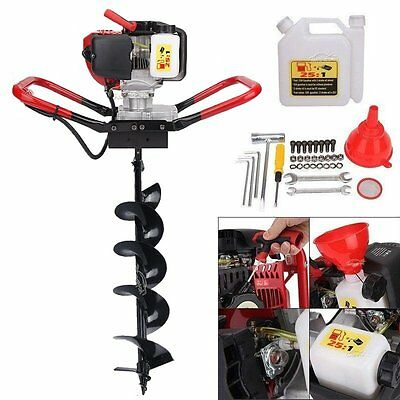 """52cc 2.3HP Powered Gas Post Hole Digger Earth Digger Auger W/ 6"""" Bits Drill"""