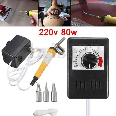 80W AC 220V Gourd Wood Multifunction Pyrography Machine Heating Wire Pen Tool