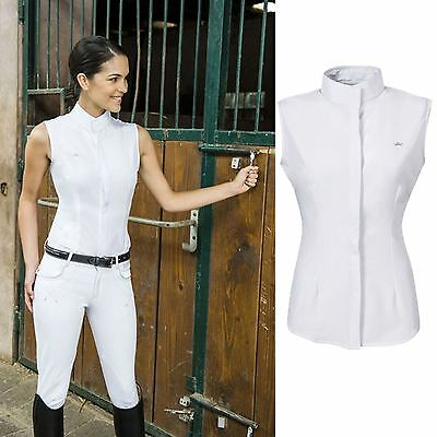 Equi-Theme Lorina Ladies White Show Sleeveless Horse Riding Competition Shirt