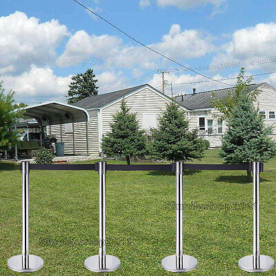4x Queue Barriers Crowd Control stanchions Stainless Steel 2m Retractable Belt