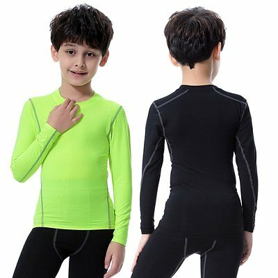 Kids Boy Girl Compression Fitness Tops Tee Tight Training Thermal Sports T-Shirt