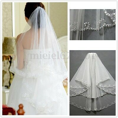 2T White/Ivory Crystal Wedding Bridal Veil With Comb Vail Sequins Beaded Edge