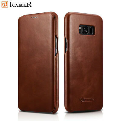 ICARER Genuine Real Leather Flip Phone Case Cover For Samsung Galaxy S8/ S9 Plus