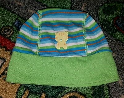 BABY BOYS Sz NEWBORN green & blue BIG SOFTIE tiger beenie CUTE!