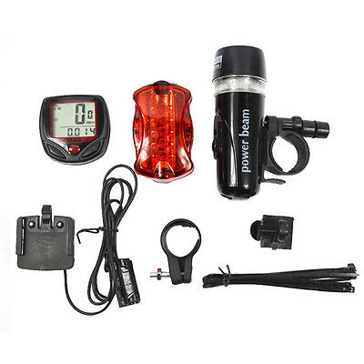 Bicycle Speedometer 5 LED Front Light Rear Lamp Flashlight Outdoor Sport Cycling