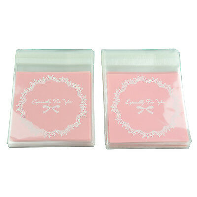 100 Pcs Self Seal Adhesive Opp Bag Lace Bow for Candies Cookies  BF