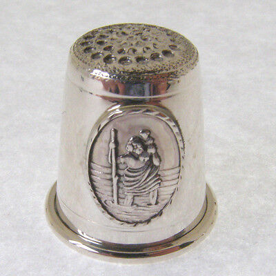 HALLMARKED SILVER THIMBLE WITH A SAINT CHRISTOPHER MOTIF. St CHRISTOPHER THIMBLE