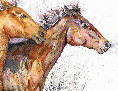 HELEN ROSE Limited Print of my HORSES GALLOPING watercolour painting 362