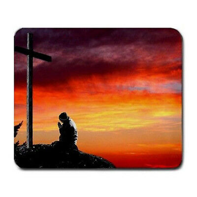 Man praying at cross christian Large Mousepad Mouse Pad Great Gift Idea