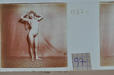 Stereoscopic Photography  Nude  , Glass Stereo Slide , 1905 Aprox.   N. 97
