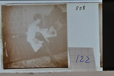 Stereoscopic Photography  Nude  , Glass Stereo Slide , 1905 Aprox.   N. 122