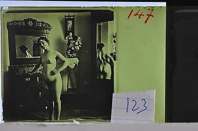 Stereoscopic Photography  Nude  , Glass Stereo Slide , 1905 Aprox.   N. 123