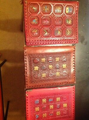 Antique Set Of Three Leather Tooled Journal/ Book/ Notebook Covers