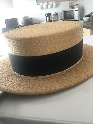 Dunn & Co 1930s Boater Straw Hat vintage 6 3/4 small to Medium