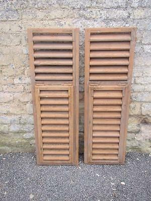 VINTAGE WOODEN FRENCH SHUTTERS 137.5 X 87 cm LOUVER SHABBY WINDOW  FREE POST