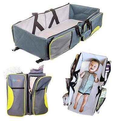 3 in1 Mummy Baby Diaper Travel Bag Portable Infant Nursery Crib Folding Bed N7